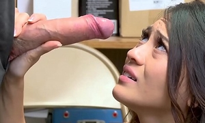 Amazing little Asian thief punished with cum in mouth