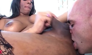 Broad in the beam special TS gets deepthroated by bald guy