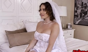 Busty bride cuckolds hubby with BBC atop their wedding day