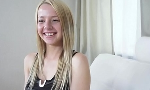 Adorable newbie teen fucked at one's fingertips casting