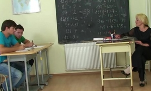 Granny teacher double sageness in the classroom