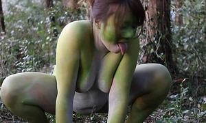 Stark naked Japanese broad in the beam frog descendant in the swamp HD