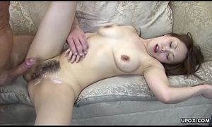 This babe is undisturbed twitching when he cums on her soft sopping crack