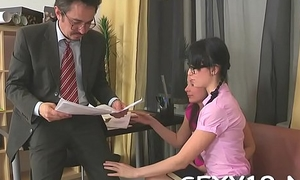 Chick is delighting mature teacher with her unwed beaver