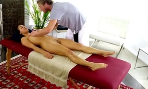 Petite oiledup babe in arms screwed by her masseur