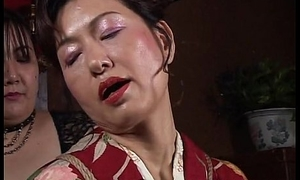 Asian mature bitch has a hawser session at dish out endure