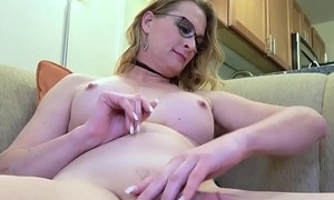Busty spex transsexual tugging her cock without equal