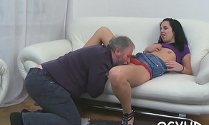 Nice-looking young gal fucked by old bloke