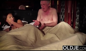Grandpa fucks his young wife licks will not hear of pussy and cums in will not hear of pretty frowardness